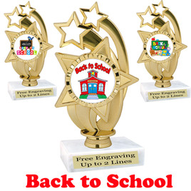 Back to School themed trophy.  9 Designs available. (ph55