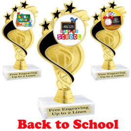 Back to School themed trophy.  9 Designs available. (ph106