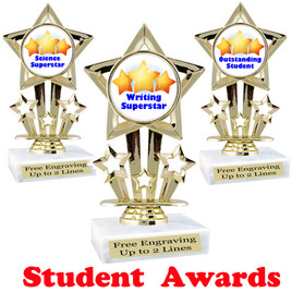 """Student award  trophy. 6"""" tall.  9 Designs available. (767"""
