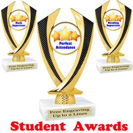 """Student award  trophy. 6"""" tall.  9 Designs available. (4516"""