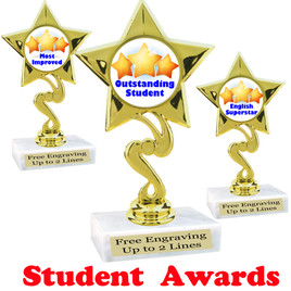 """Student awards  trophy. 6"""" tall.  9 Designs available. (80106"""