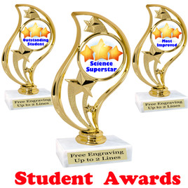 """Student awards  trophy. 6"""" tall.  9 Designs available. (90126"""