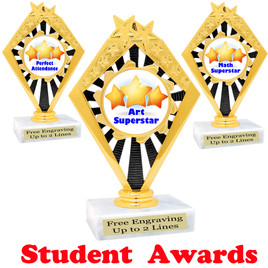 """Student awards  trophy. 6"""" tall.  9 Designs available. (92656"""