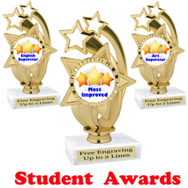 """Student awards  trophy. 6"""" tall.  9 Designs available. (ph55"""