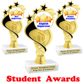 """Student awards  trophy. 6"""" tall.  9 Designs available. (ph106"""