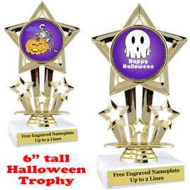 "6"" tall  Halloween theme trophy.  Choice of art work and base.  9 designs available.(767"