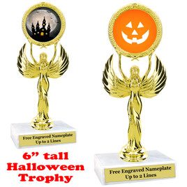"6"" tall  Halloween theme trophy.  Choice of art work and base.  9 designs available.(80087"