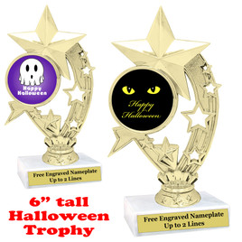 "6"" tall  Halloween theme trophy.  Choice of art work and base.  9 designs available.(h208"