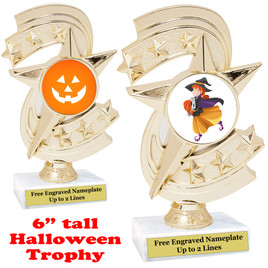 "6"" tall  Halloween theme trophy.  Choice of art work and base.  9 designs available.(h300"