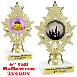 "6"" tall  Halloween theme trophy.  Choice of art work and base.  9 designs available. ph75"
