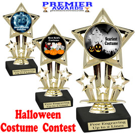 """6"""" tall  Halloween Costume Contest theme trophy.  Choice of art work and base.  9 designs available. 767"""