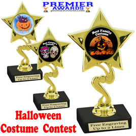 """6"""" tall  Halloween Costume Contest theme trophy.  Choice of art work and base.  9 designs available. 80106"""