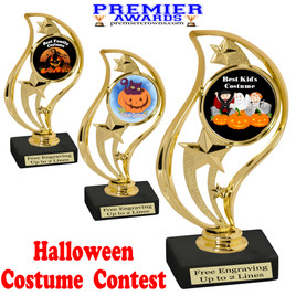"""6"""" tall  Halloween Costume Contest theme trophy.  Choice of art work and base.  9 designs available. 90126"""