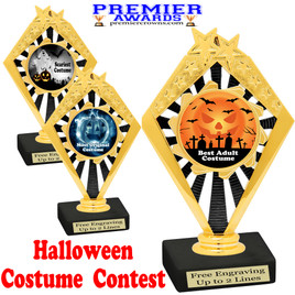 """6"""" tall  Halloween Costume Contest theme trophy.  Choice of art work and base.  9 designs available. 92656"""