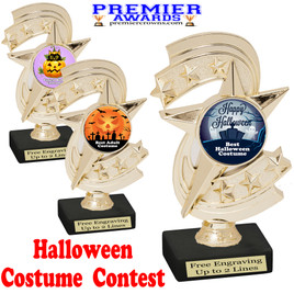 """6"""" tall  Halloween Costume Contest theme trophy.  Choice of art work and base.  9 designs available. h300"""