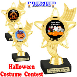 """6"""" tall  Halloween Costume Contest theme trophy.  Choice of art work and base.  9 designs available. ph27"""