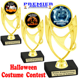 """6"""" tall  Halloween Costume Contest theme trophy.  Choice of art work and base.  9 designs available. ph28"""