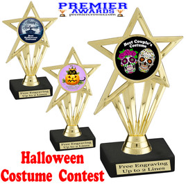 """6"""" tall  Halloween Costume Contest theme trophy.  Choice of art work and base.  9 designs available. ph30"""
