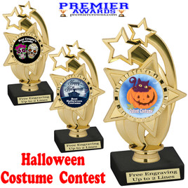 """6"""" tall  Halloween Costume Contest theme trophy.  Choice of art work and base.  9 designs available. ph55"""