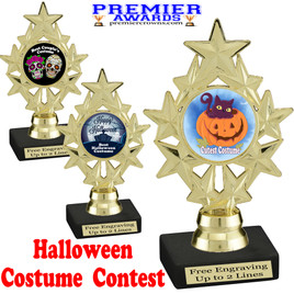 """6"""" tall  Halloween Costume Contest theme trophy.  Choice of art work and base.  9 designs available. ph75"""