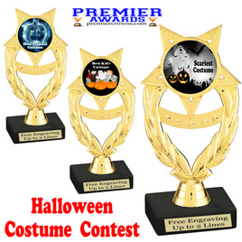 """6"""" tall  Halloween Costume Contest theme trophy.  Choice of art work and base.  9 designs available. ph97"""