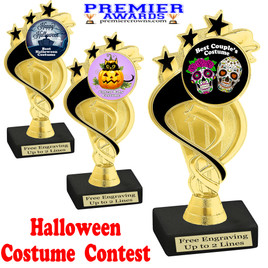"""6"""" tall  Halloween Costume Contest theme trophy.  Choice of art work and base.  9 designs available. ph106"""