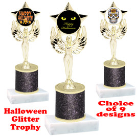 Halloween  theme trophy with Black glitter column.  Choice of art work and trophy height.  9 designs available. 7517