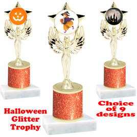 Halloween  theme trophy with Orange  glitter column.  Choice of art work and trophy height.  9 designs available. 7517