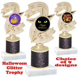 Halloween  theme trophy with Black  glitter column.  Choice of art work and trophy height.  9 designs available. h300