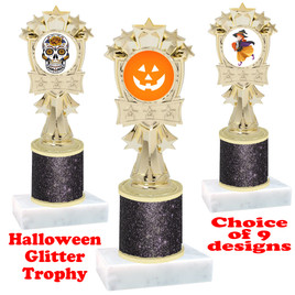 Halloween  theme trophy with Black  glitter column.  Choice of art work and trophy height.  9 designs available. mf3260