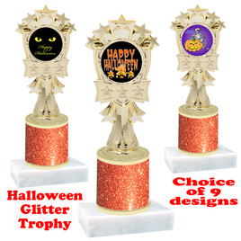 Halloween  theme trophy with Orange  glitter column.  Choice of art work and trophy height.  9 designs available. mf3260