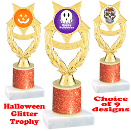 Halloween  theme trophy with Orange  glitter column.  Choice of art work and trophy height.  9 designs available. ph97