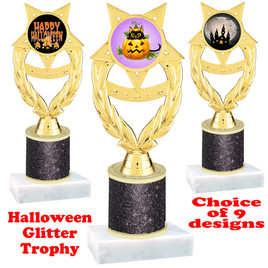 Halloween  theme trophy with Black  glitter column.  Choice of art work and trophy height.  9 designs available. ph97