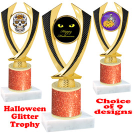 Halloween  theme trophy with Orange  glitter column.  Choice of art work and trophy height.  9 designs available. 4516