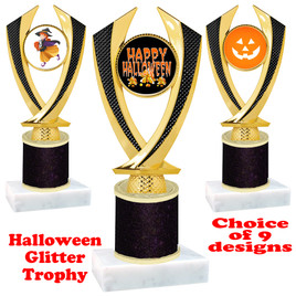 Halloween  theme trophy with Black  glitter column.  Choice of art work and trophy height.  9 designs available. 4516