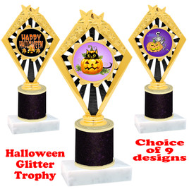 Halloween  theme trophy with Black  glitter column.  Choice of art work and trophy height.  9 designs available. 92656