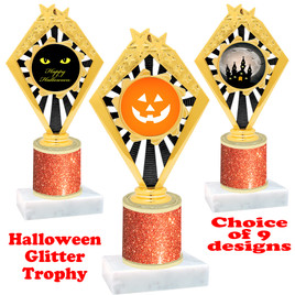 Halloween  theme trophy with Orange  glitter column.  Choice of art work and trophy height.  9 designs available. 92656