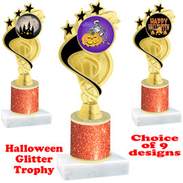 Halloween  theme trophy with Orange  glitter column.  Choice of art work and trophy height.  9 designs available. ph106