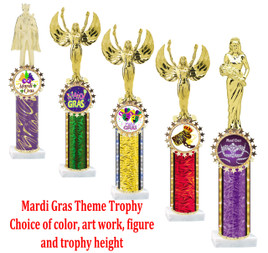 Mardi Gras theme trophy with Star art work holder with column.  Multiple Sizes Available.
