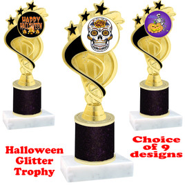 Halloween  theme trophy with Black  glitter column.  Choice of art work and trophy height.  9 designs available. ph106