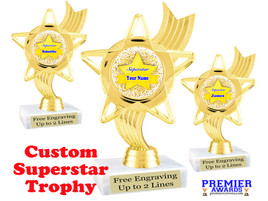 """Custom Superstar trophy.  6"""" tall with your custom name. (ph27"""