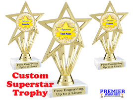 """Custom Superstar trophy.  6"""" tall with your custom name. (ph30"""