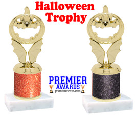 Carved Pumpkin Trophy  with glitter column.  Great for all of your Halloween events!