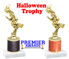 Retro Witch Trophy  with glitter column.  Great for all of your Halloween events!