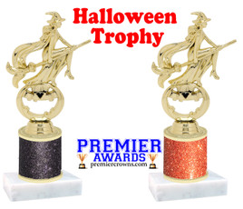 Modern Witch Trophy  with glitter column.  Great for all of your Halloween events!