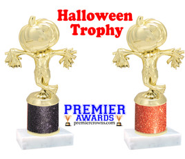 Scarecrow Trophy  with glitter column.  Great for all of your Halloween events!
