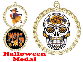 Halloween theme medal.  Choice of art work.  Includes free engraving and neck ribbon - m70g