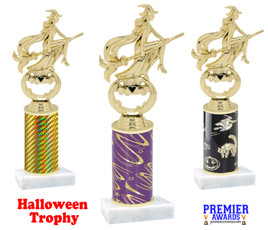 Modern Witch Trophy with choice of column color.  Numerous colors and trophy heights available