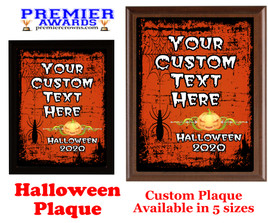 Halloween Custom Full Color Plaque.  Choice of black or brown plaque with full color plate.  5 Plaques sizes available -halloween 001