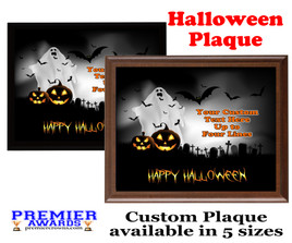 Halloween Custom Full Color Plaque.  Choice of black or brown plaque with full color plate.  5 Plaques sizes available -halloween 004